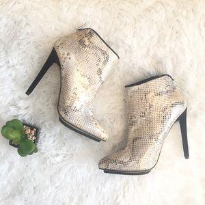 Michael Antonio 6.5 Ivory Metallic Ankle Heels